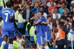 Hazard Oscar Ramires Chelsea Vs Aston Villa