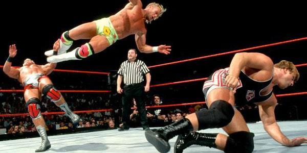 Image result for backlash 1999 New Age Outlaws vs Jeff Jarrett & Owen Hart