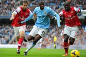 Yaya Toure Man City Mathieu Flamini Bacary Sagna Arsenal