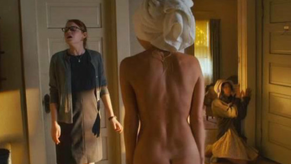 Naked toddler boy hard on