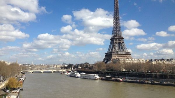 Eiffel Tower By The Seine River Paris 2 March 2014