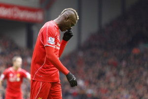 Liverpool's Mario Balotelli during the Barclays Premier League match at Anfield, Liverpool. PRESS ASSOCIATION Photo. Picture date: Saturday November 8, 2014. See PA story SOCCER Liverpool. Photo credit should read Peter Byrne/PA Wire. Editorial use on