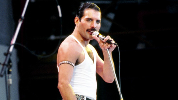 Freddie Mercury, lead singer with the rock group Queen, during the Live Aid concert.