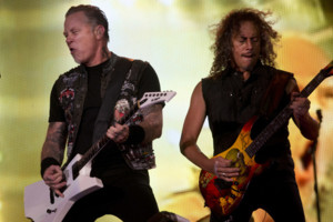 James Hetfield, left, and Kirk Hammett of Metallica perform during the Rock in Rio music festival, in Rio de Janeiro, Brazil, Friday, Sept. 20, 2013. The week long festival will feature a list of headliners including, Bon Jovi, Iron Maiden, Bruce Springst
