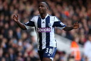 West Bromwich Albion's Saido Berahino celebrates scoring their third goal of the game
