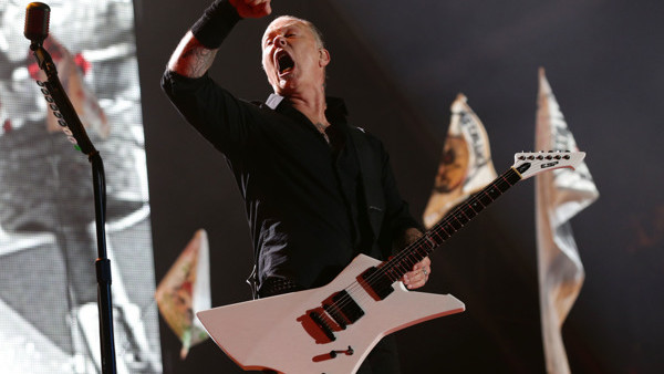 James Hetfield of Metallica performing on the Pyramid Stage at the Glastonbury Festival, at Worthy Farm in Somerset.