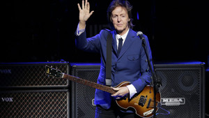Paul McCartney performs during a benefit concert at the Tobin Center, Wednesday, Oct. 1, 2014, in San Antonio. (AP Photo/Eric Gay)