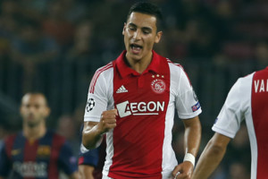 Ajax's Anwar El Ghazi, celebrates his side's first goal during the Champions League group F soccer match between F.C. Barcelona and Ajax at Camp Nou stadium in Barcelona, Spain, Tuesday, Oct. 21, 2014. (AP Photo/Emilio Morenatti)