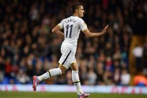 Tottenham's Erik Lamela celebrates scoring their second goal during the UEFA Europa League Group C match at White Hart Lane, London.