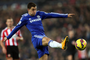 Chelsea's Eden Hazard during their English Premier League soccer match against Sunderland at the Stadium of Light, Sunderland, England, Saturday, Nov. 29, 2014. (AP Photo/Scott Heppell)