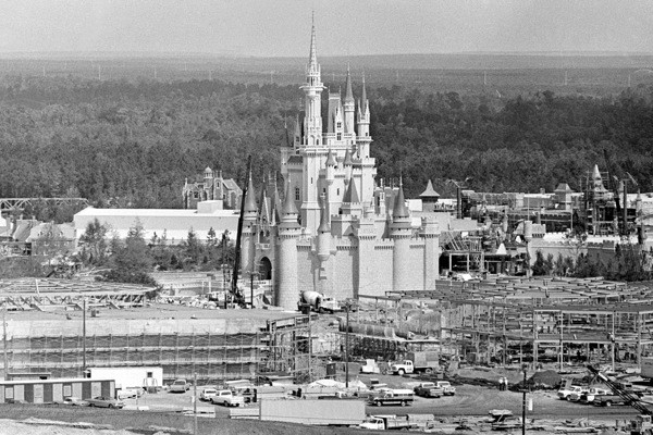Disney World under construction near Orlando in Central Florida, on July 7, 1971. At center is the amusement park's Cinderella Palace in the Magic Kingdom. (AP Photo)