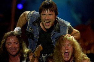 David Murray, left, Bruce Dickinson, center and Adrian Smith of Iron Maiden perform at the Rock in Rio festival in Rio de Janeiro, Brazil Friday Jan. 19, 2001. (AP Photo/Dario Lopez-Mills)