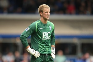 Birmingham City goalkeeper Joe Hart stands dejected after coonceding their first goal of the game