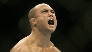 B.J. Penn Matt Hughes yells during a Ultimate Fighting Championship welterweight mixed martial arts match Saturday, Nov. 20, 2010, in Auburn Hills, Mich. (AP Photo/Duane Burleson)