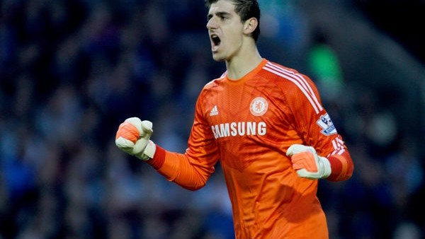 Chelsea's Thibaut Courtois celebrates