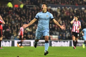 Manchester City's Sergio Aguero celebrates his goal during the Barclays Premier League match at the Stadium of Light, Sunderland.