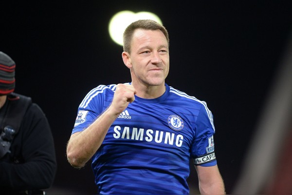Chelsea's John Terry celebrates following the Barclays Premier League match at the Britannia Stadium, Stoke.