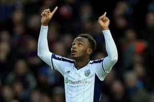 West Bromwich's Saido Berahino celebrates his goal during the Barclays Premier League match at Upton Park, London. PRESS ASSOCIATION Photo. Picture date: Thursday January 1, 2015. See PA story SOCCER West Ham. Photo credit should read Stephen Pond/PA