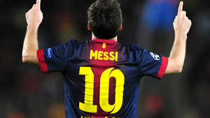 Barcelona's Lionel Messi celebrates his second goal