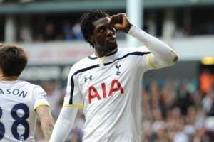 Tottenham Hotspur's Emmanuel Adebayor celebrates after scoring the opening goal of the game against Newcastle United.