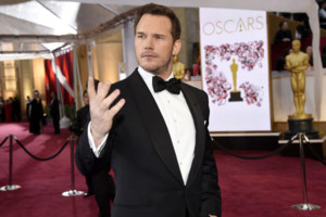 Chris Pratt arrives at the Oscars on Sunday, Feb. 22, 2015, at the Dolby Theatre in Los Angeles. (Photo by Chris Pizzello/Invision/AP)