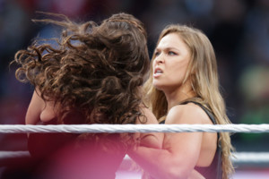IMAGE DISTRIBUTED FOR WWE - UFC fighter Ronda Rousey makes a surprise appearance at WrestleMania 31 on Sunday, March 29, 2015 at Levi's Stadium in Santa Clara, CA. WrestleMania broke the Levis Stadium attendance record at 76,976 fans from all 50 state