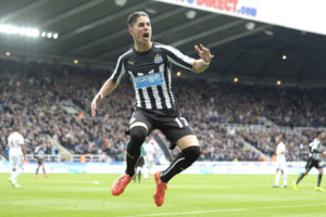Newcastle's Ayoze Perez celebrates his goal during the Barclays Premier League match at St James Park, Newcastle. PRESS ASSOCIATION Photo. Picture date: Saturday April 25, 2015. See PA story SOCCER Newcastle. Photo credit should read: Owen Humphreys/P