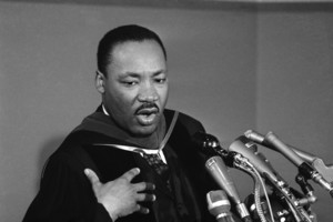 Dr. Martin Luther King during news conference following a Howard University address during the universitys charter day observance in Washington on March 2, 1965. (AP Photo/Charles Tasnadi )