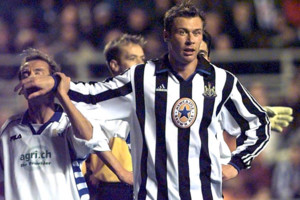 This picture can only be used within the context of an editorial feature. Duncan Ferguson of Newcastle United blocks Jean Jacques Eydelie of FC Zurich during their UEFA Cup football match at St James' Park.