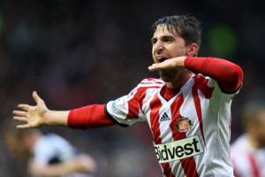 Sunderland's Fabio Borini celebrates his goal during their English Premier League soccer match against West Bromwich Albion at the Stadium of Light, Sunderland, England, Wednesday, May 7, 2014. (AP Photo/Scott Heppell)