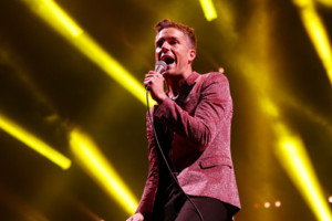 Brandon Flowers of The Killers performing on the Main Stage during day two of the V Festival, at Hylands Park in Chelmsford, Essex.