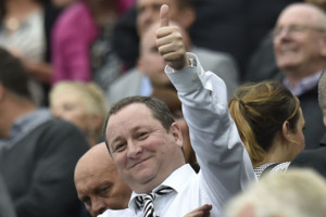 Newcastle Chairman Mike Ashley gives the thumbs up during the Barclays Premier League match at St James' Park, Newcastle.