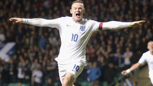 England's Wayne Rooney celebrates scoring his sides third goal of the game during the International friendly at Celtic Park, Glasgow. PRESS ASSOCIATION Photo. Picture date: Tuesday November 18, 2014. See PA Story SOCCER Scotland. Photo credit should r