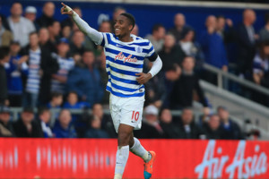 Queens Park Rangers' Leroy Fer celebrates scoring his sides second goal during the Barclays Premier League match at Loftus Road, London.