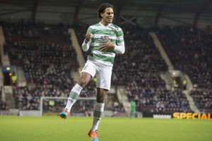 Celtic's Virgil Van Dijk celebrates his sides fourth goal during the William Hill Scottish Cup Fourth Round match at Tynecastle Stadium, Edinburgh.