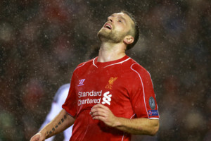 Liverpool's Rickie Lambert dejected during the UEFA Champions League Group B game at Anfield, Liverpool.