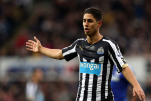 Newcastle United's Ayoze Perez during their English Premier League soccer match against Chelsea at St James' Park, Newcastle, England, Saturday, Dec. 6, 2014. (AP Photo/Scott Heppell)