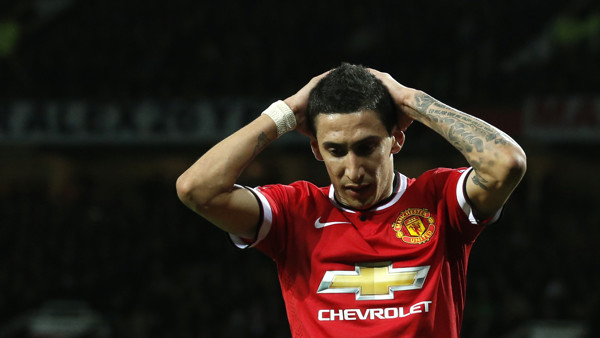 Manchester Uniteds Angel Di Maria holds his hands to his head after missing a chance to score a goal during the English FA Cup quarterfinal soccer match between Manchester United and Arsenal at Old Trafford Stadium, Manchester, England, Monday March 9, 20