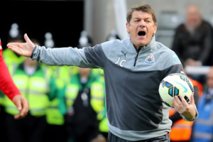 Newcastle United manager, John Carver shouts during the Barclays Premier League match at St James' Park, Newcastle. PRESS ASSOCIATION Photo. Picture date: Saturday May 9, 2015. See PA story SOCCER Newcastle. Photo credit should read: Richard Sellers/PA Wire. RESTRICTIONS: Editorial use only. Maximum 45 images during a match. No video emulation or promotion as 'live'. No use in games, competitions, merchandise, betting or single club/player services. No use with unofficial audio, video, data, fixtures or club/league logos.