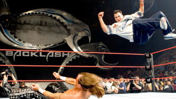 Image result for WWE Backlash 2006 Vince and Shane McMahon vs Shawn Michaels and God wwe.com