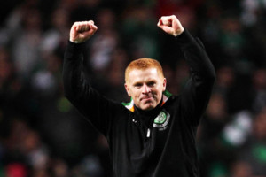 File photo dated 07/11/2012 of Celtic's Neil Lennon celebrates defeating Barcelona.