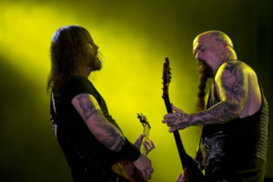 Kerry King, right, and Gary Holt of the American trash metal band Slayer performs during the Rock in Rio music festival in Rio de Janeiro, Brazil, Sunday, Sept. 22, 2013. More than 80 thousand people a day were expected to attend the week-long festival wh