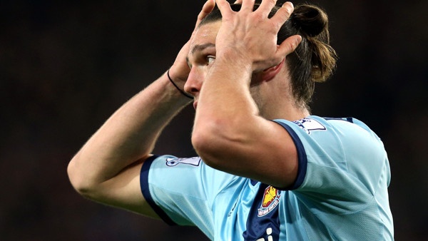 West Ham United's Andy Carroll during their English Premier League soccer match against Sunderland at the Stadium of Light, Sunderland, England, Saturday, Dec. 13, 2014. (AP Photo/Scott Heppell)