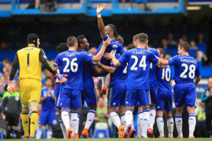 Chelsea's Didier Drogba is lifted by teammates at his last Chelsea appearance during the Barclays Premier League match at Stamford Bridge, London.