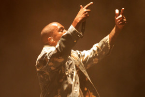 Kanye West performing on the Pyramid Stage at the Glastonbury Festival, at Worthy Farm in Somerset.