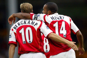 Arsenal's Thierry Henry celebrates his goal against Norwich City with Dennis Bergkamp