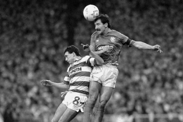 Rangers' player-manager Graeme Souness (right) gets to the ball ahead of Celtic's Paul McStay during the Old Firm clash at Parkhead which Celtic won 2-0.