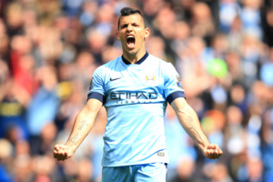 Manchester City's Sergio Aguero celebrates scoring their fourth goal