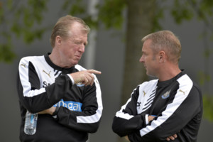 New Newcastle United manager Steve McClaren (left) and assistant Paul Simpson during an open training session at Darsley Park Training Centre, Little Benton, Newcastle.