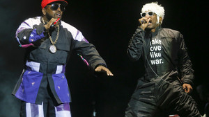 Outkast's Andre 3000, aka Andre Benjamin, right, and Big Boi, aka Antwan Patton, perform on the first day of the Austin City Limits Music Festival on Friday, Oct. 3, 2014, in Austin, Texas. (Photo by Jack Plunkett/Invision/AP)